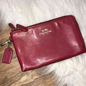 Coach red wristlet purse